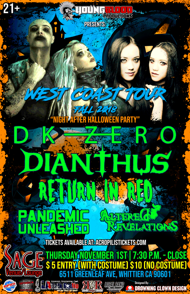 DK ZERO & DIANTHUS West Coast Tour (Night After Halloween Costume Party)