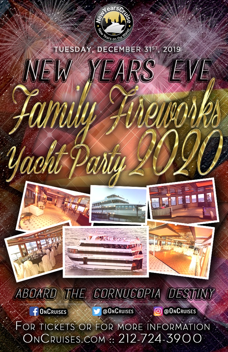 NYC New Years Eve Family Fireworks Yacht Party aboard The Cornucopia Destiny