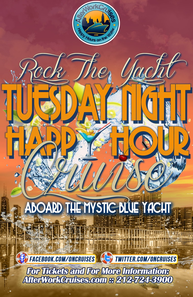 Rock the Yacht: Tuesday Night Happy Hour Cruise Aboard the Mystic Blue Yacht 9/11/18
