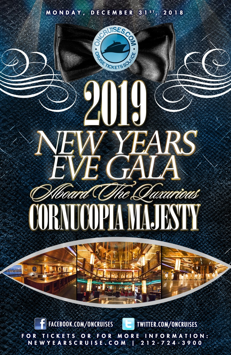 2019 New Year's Eve Gala Aboard The Luxurious Cornucopia Majesty Yacht