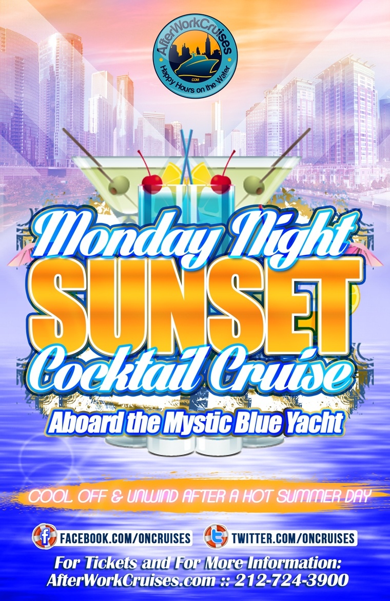 Monday Night Sunset Cocktail Cruise Aboard the Mystic Blue Yacht -  6/25/18