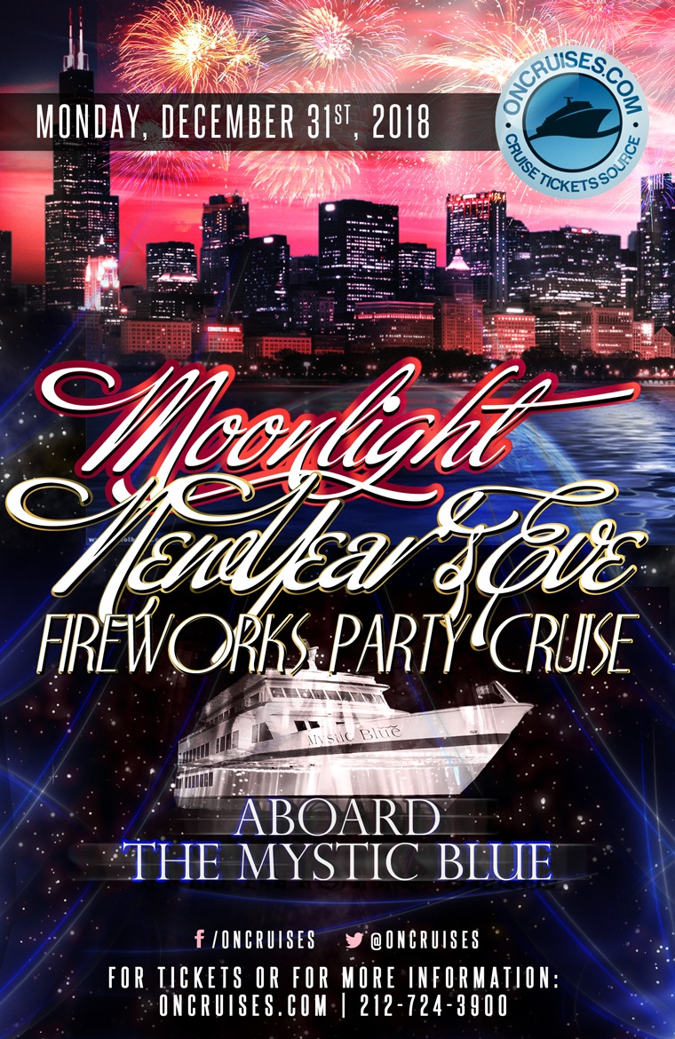Moonlight New Year's Eve Fireworks Party Cruise Aboard the Mystic Blue Yacht