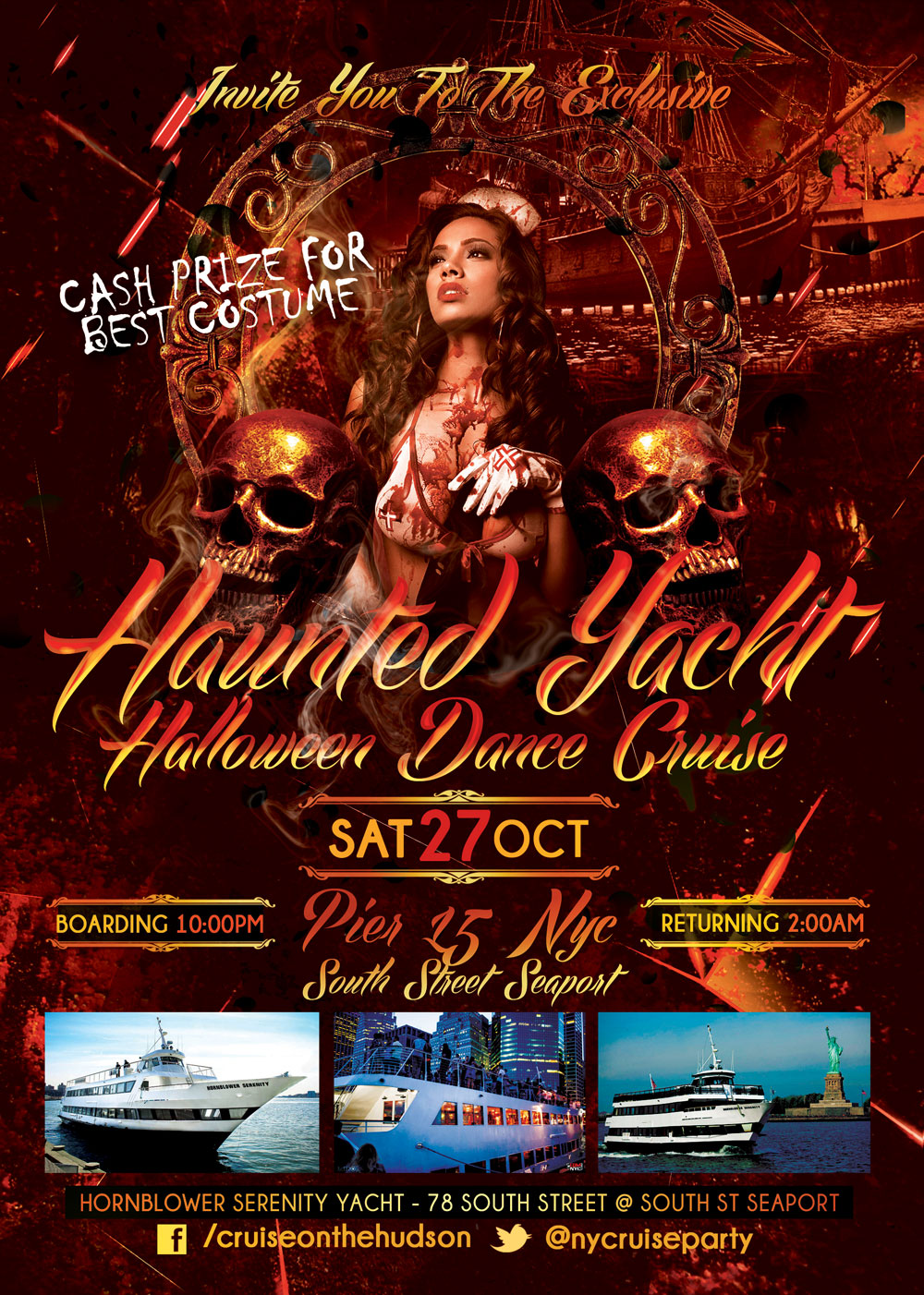 Haunted Yacht Halloween Dance Cruise NYC Pier 15 South Street Seaport