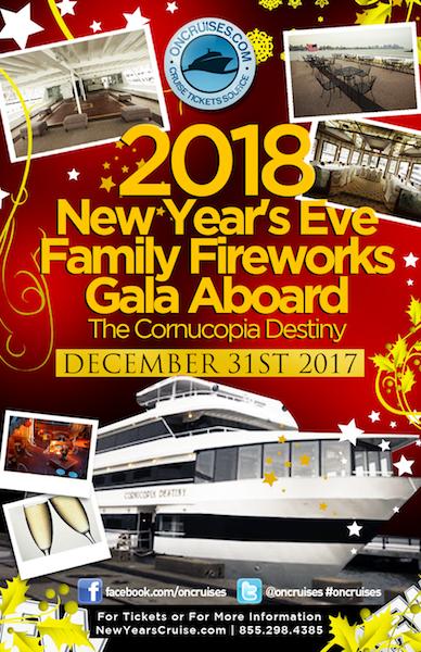 2018 New Year's Eve Family Fireworks Gala Aboard The Cornucopia Destiny Yacht