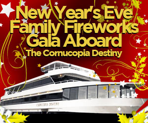 2019 New Year's Eve Family Fireworks Gala Aboard The Cornucopia Destiny Yacht