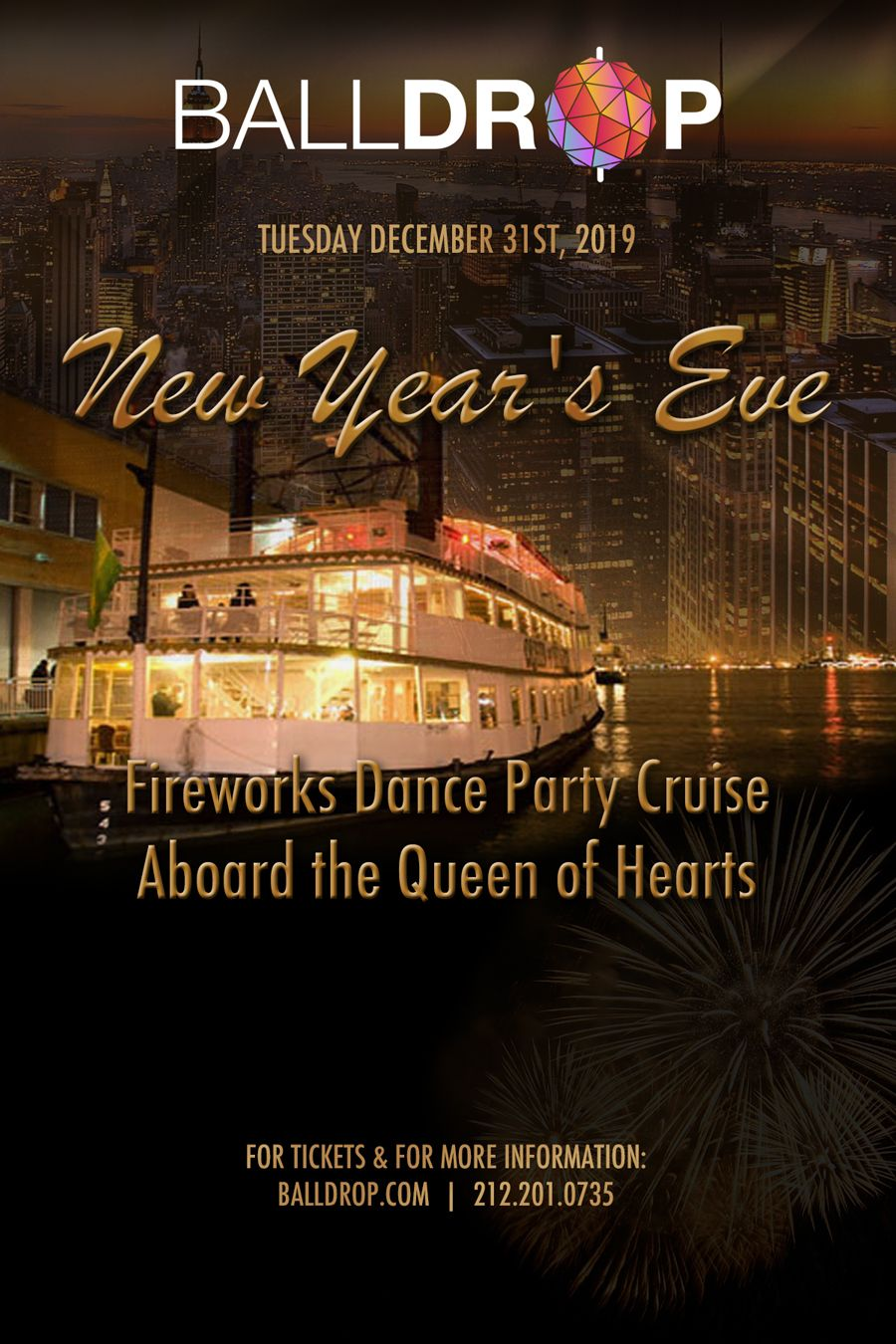 New Year's Fireworks Dance Party Cruise Aboard the Queen of Hearts