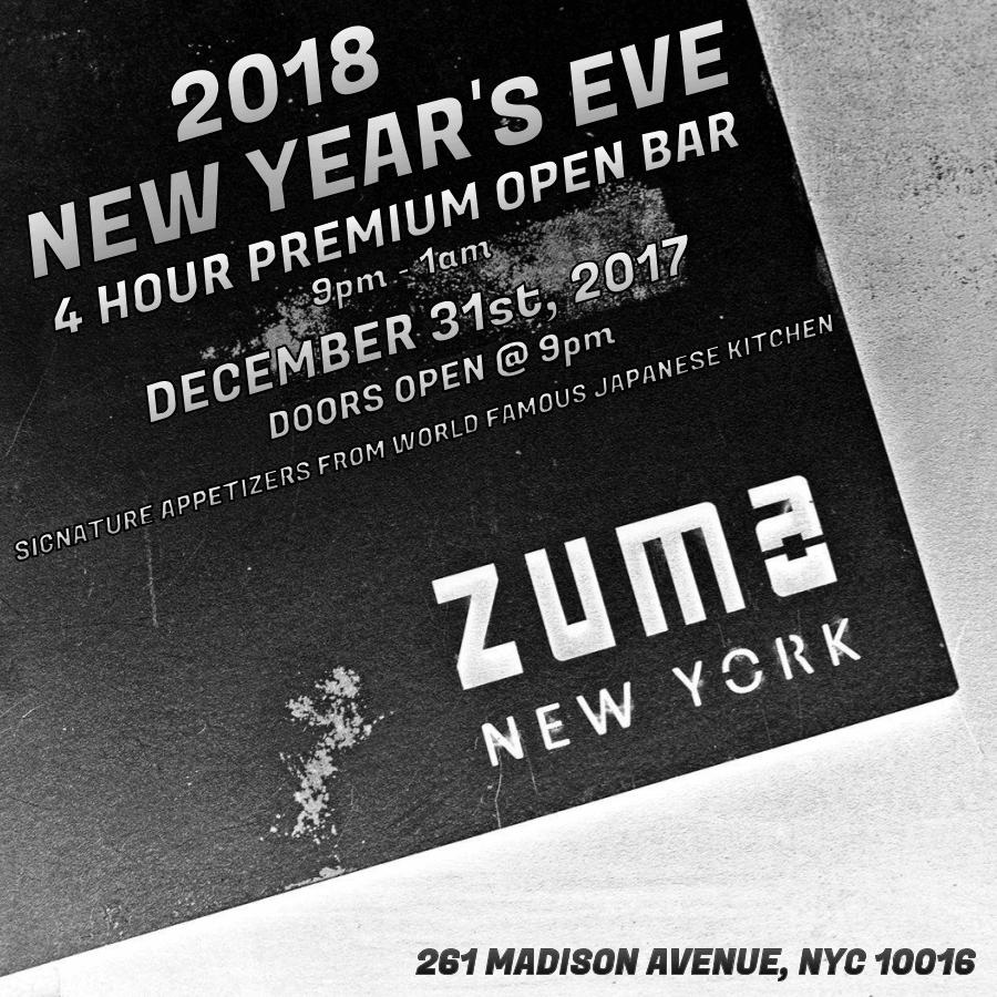 Zuma NYC NYE 2018