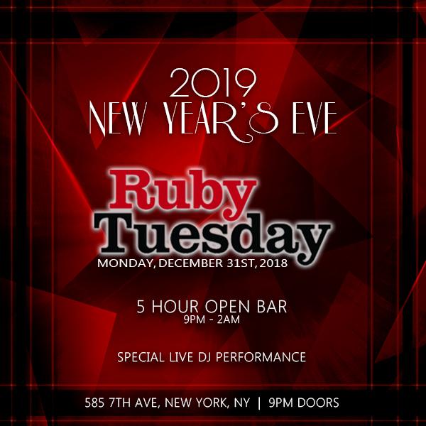 Ruby Tuesday NYE 2020