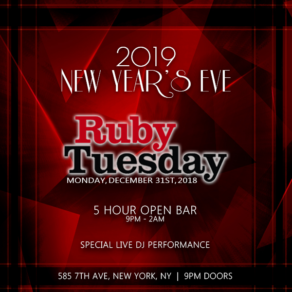Ruby Tuesday NYE 2020