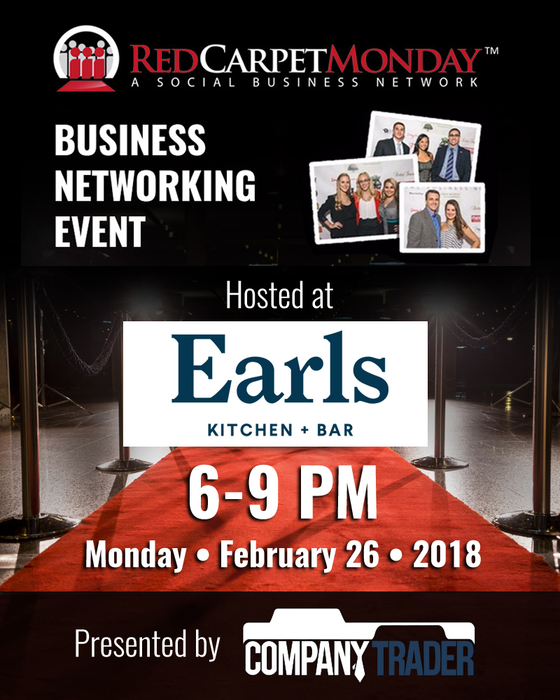 RedCarpetMonday Orlando Business Networking Event hosted at Earl's Kitchen + Bar