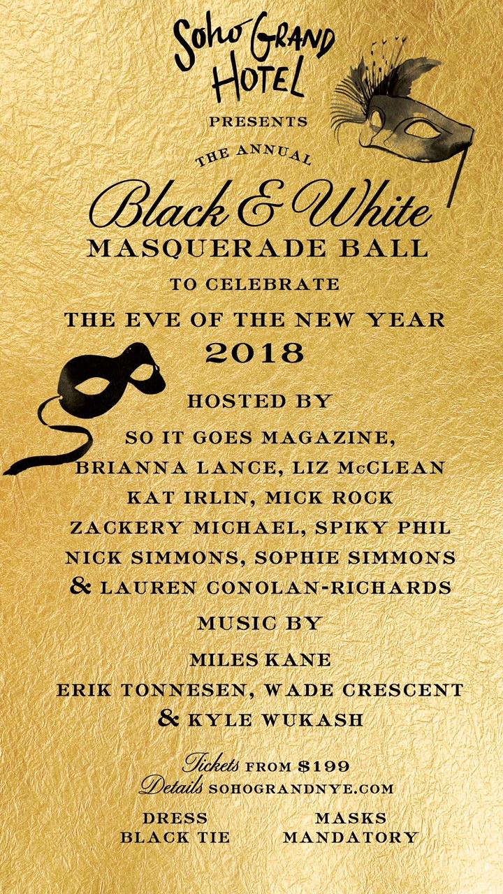 Soho Grand Presents the 10th Annual Black & White Masquerade Ball