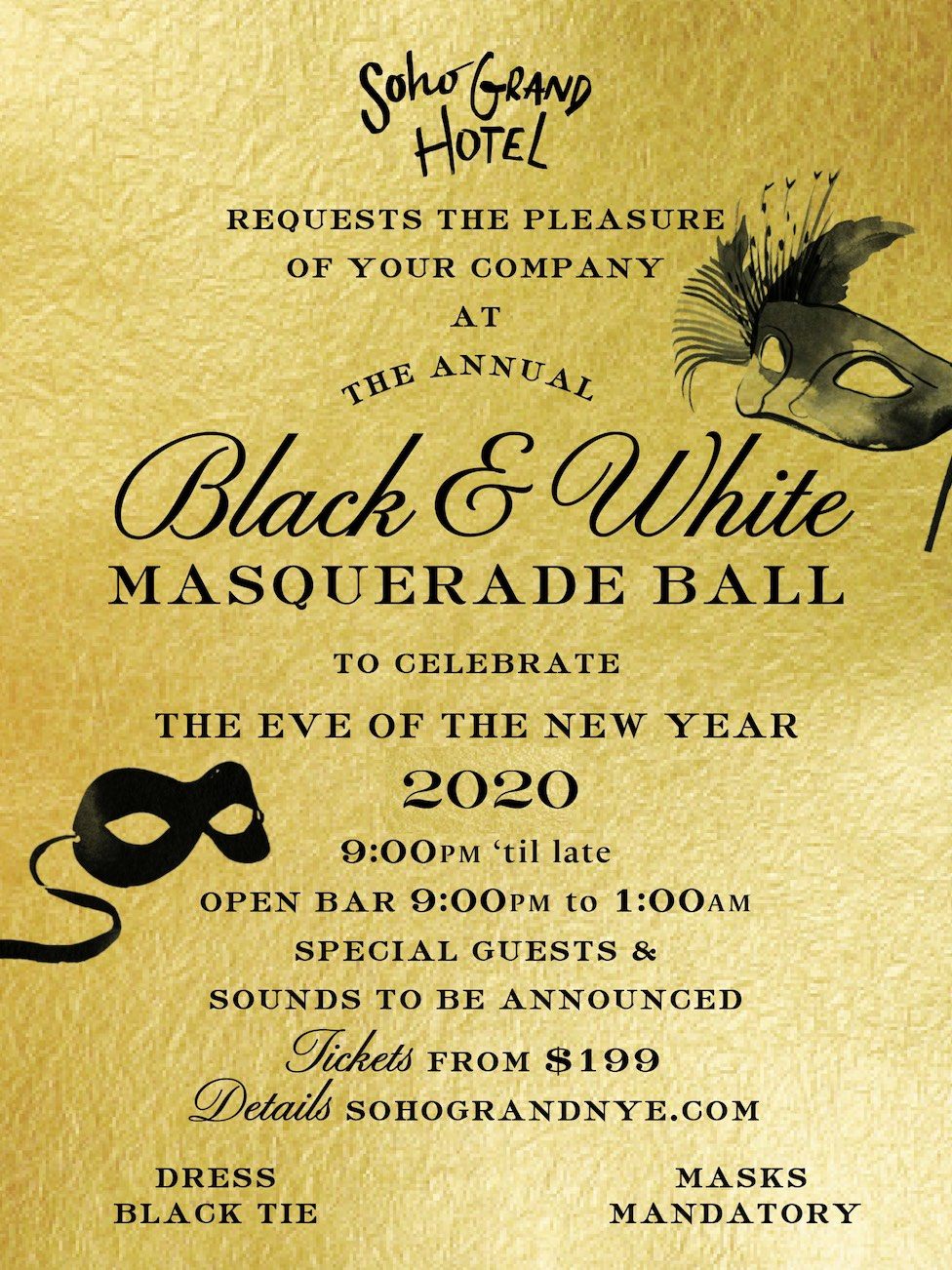Soho Grand Presents the 12th Annual Black & White Masquerade Ball