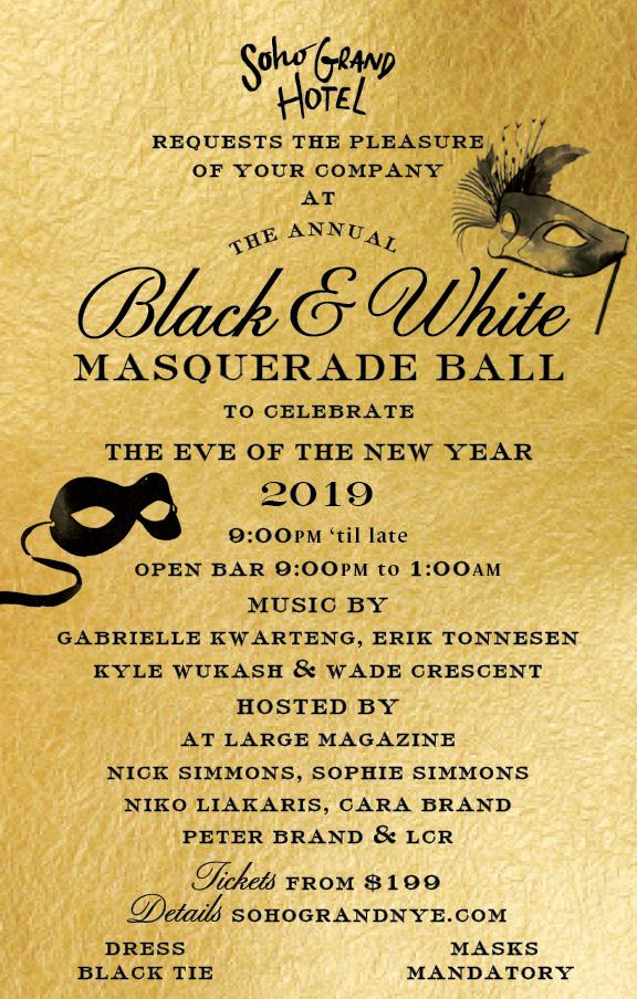 Soho Grand Presents the 11th Annual Black & White Masquerade Ball