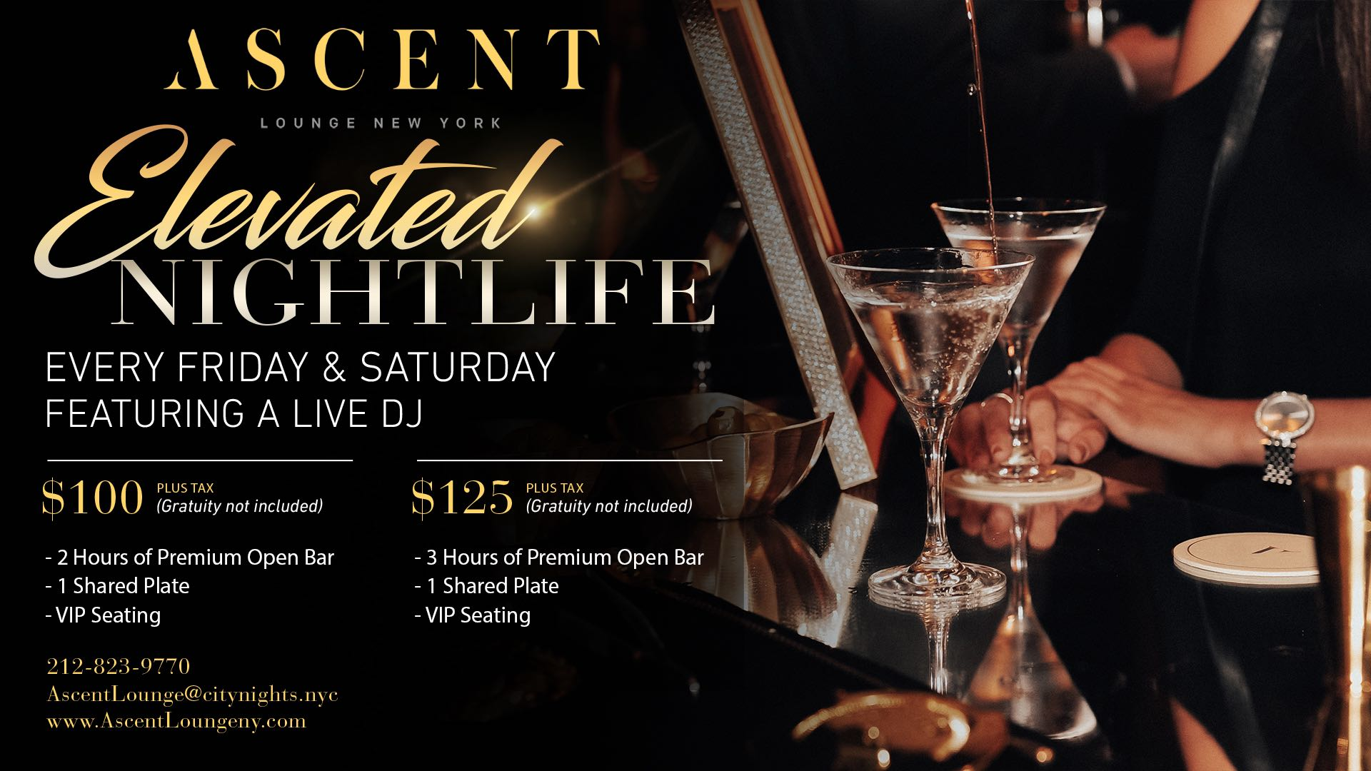 Elevated Nightlife Open Bar Packages