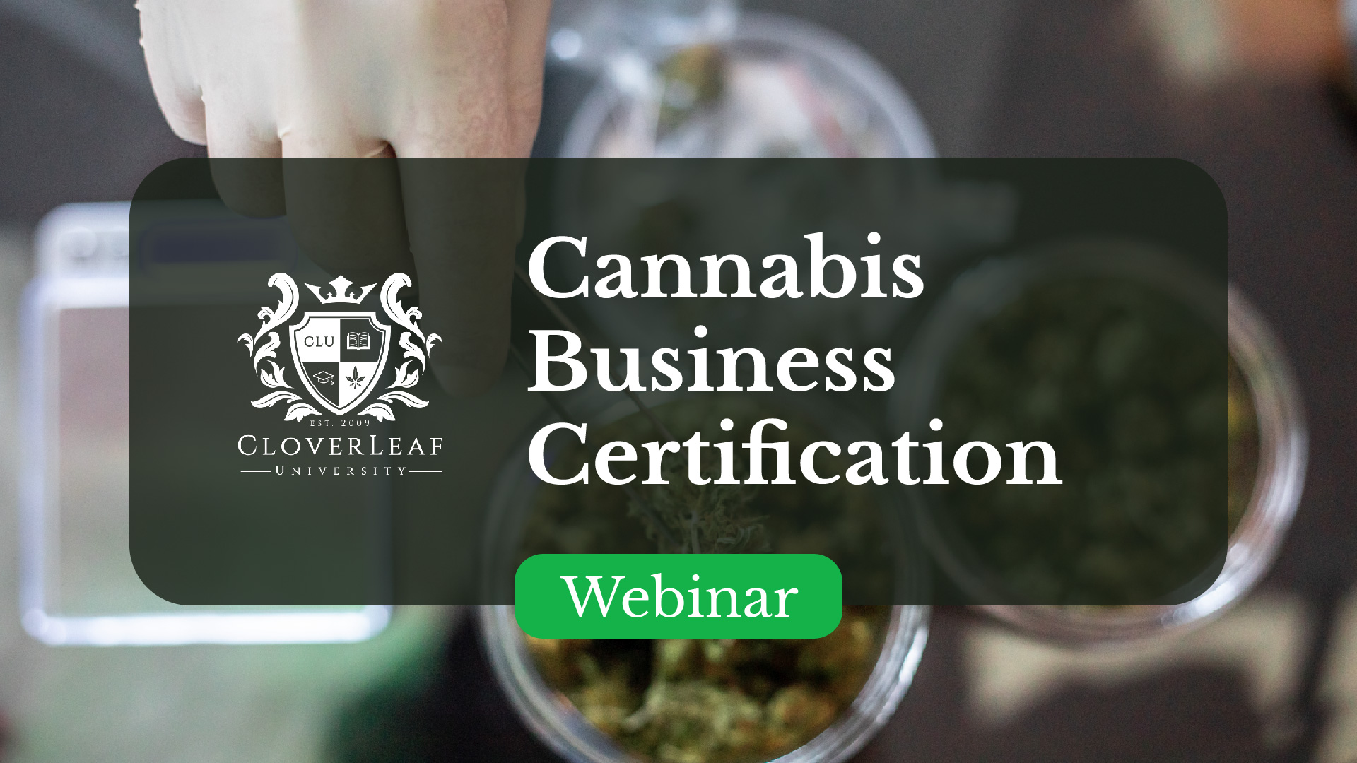 Cannabis Business Program Certification  - Webinar