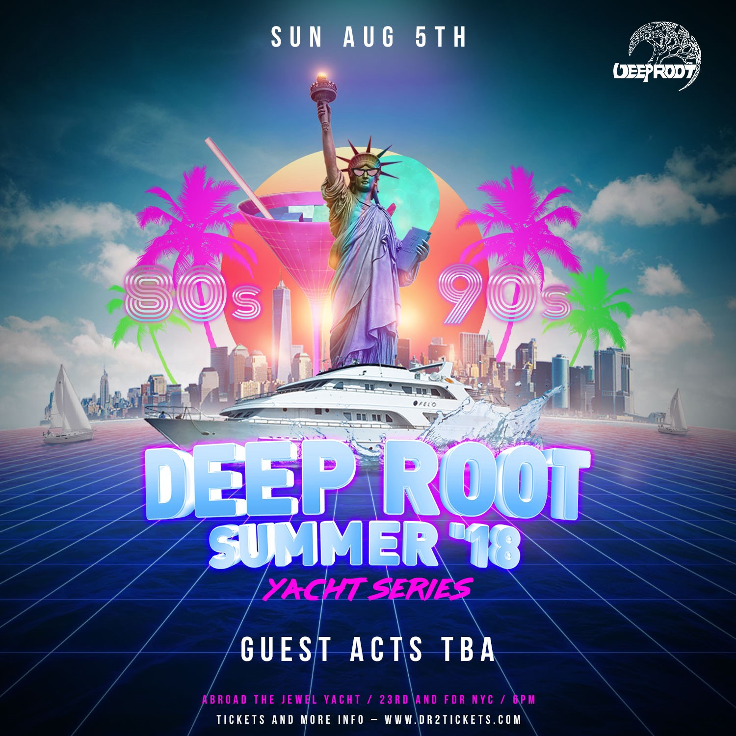 Deep Root 80's & 90's Yacht Party