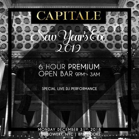 NYE 2019 At Capitale – 6 Hour Open Bar