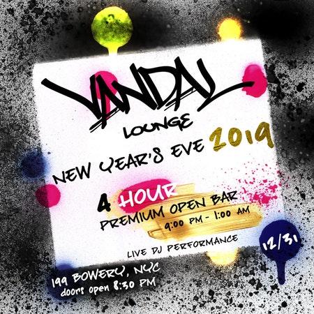 NYE 2019 At Vandal – 5 Hour Open Bar