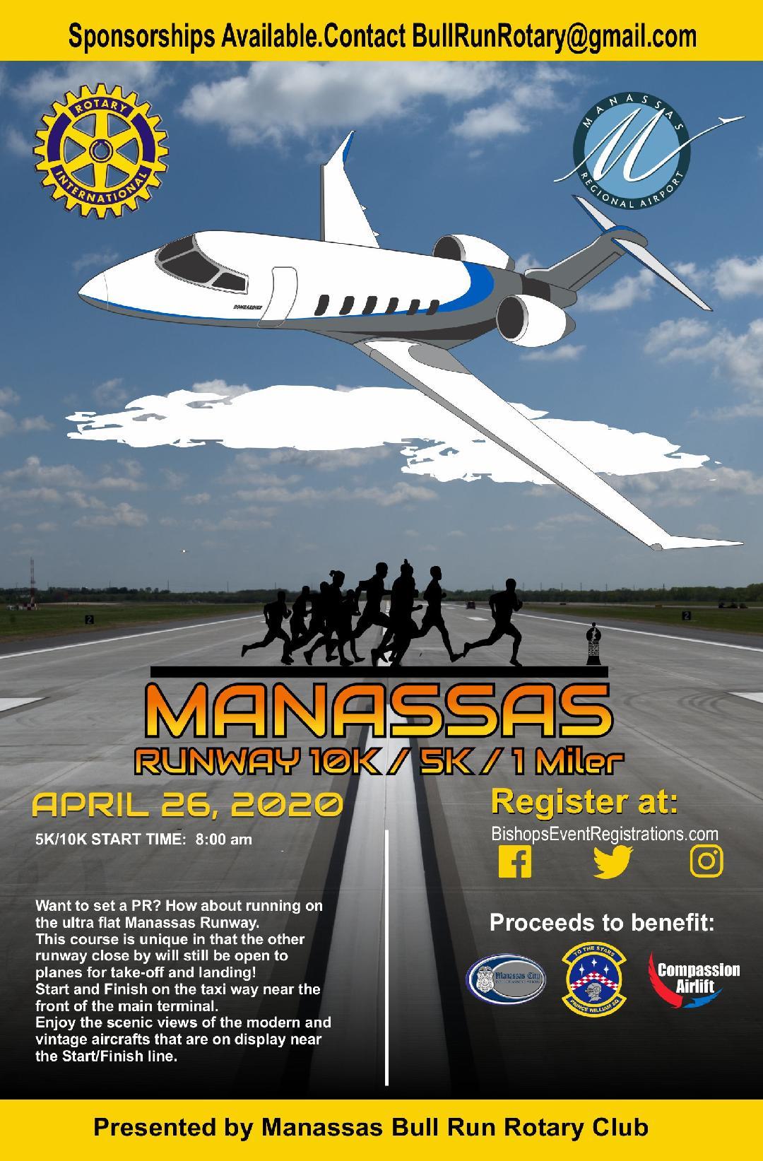 2020 Manassas Runway 5k, 10k, & 1M